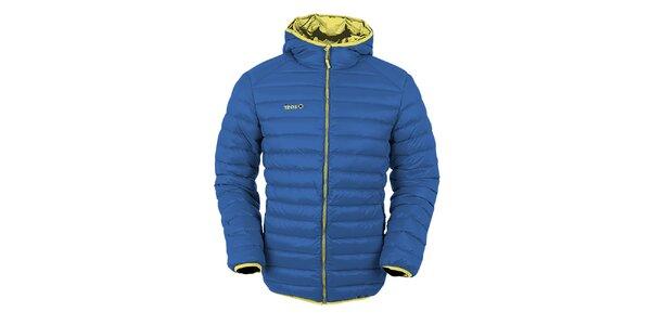 Pánska modrá páperová bunda s kapucňou Izas