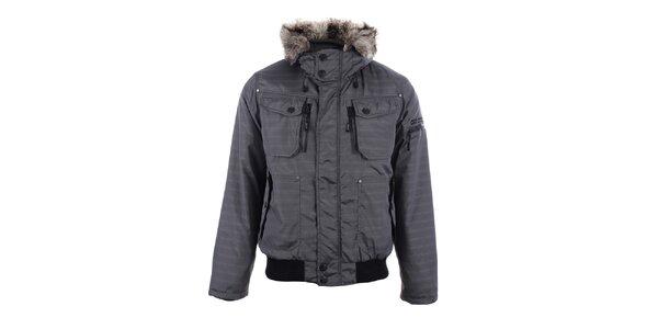 Pánska šedá zimná bunda s kožúškom Joluvi