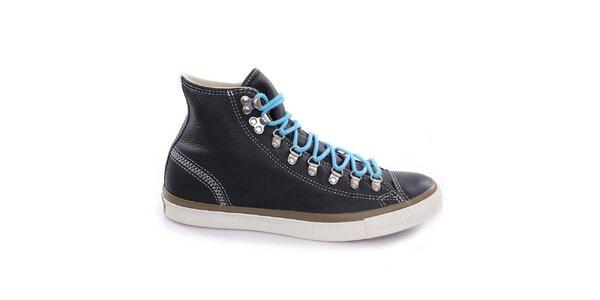 Čierne šnurovacie členkové topánky Converse