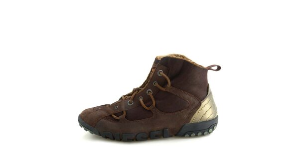 Pánske kožené hnedé členkové topánky s kožúškom Diesel