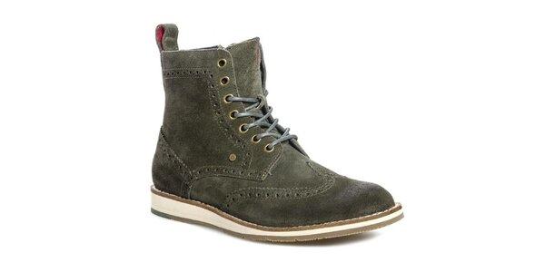 Pánske olivové členkové topánky Tommy Hilfiger