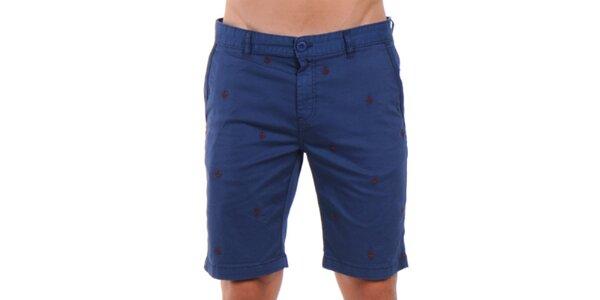 Pánske indigové vzorované šortky Giorgio Di Mare