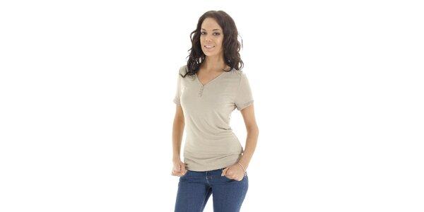 Dámske tričko s krátkym rukávom vo farbe slonovinovej kosti Peace&Love