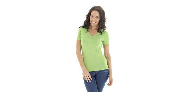 Dámske zelené tričko s krátkym rukávom Peace&Love
