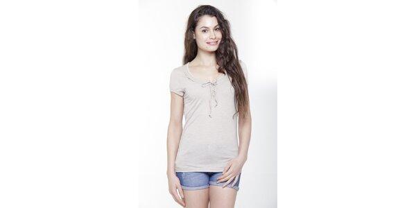 Dámske béžové tričko s krátkym rukávom a mašličkou Peace&Love
