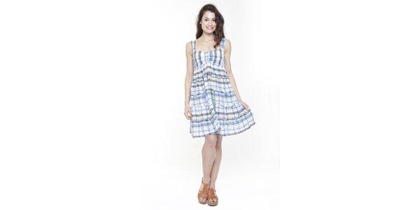 Dámske modro-biele kockované šaty Peace&Love