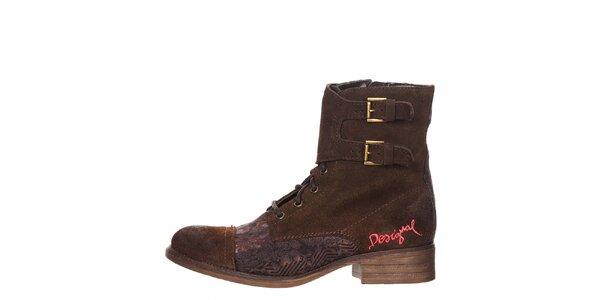 Dámske hnedé topánky s výšivkou Desigual