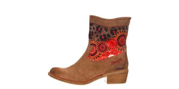 Dámske hnedé topánky s oranžovými detailmi Desigual