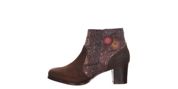 Dámske hnedé členkové topánky s opätkom Desigual