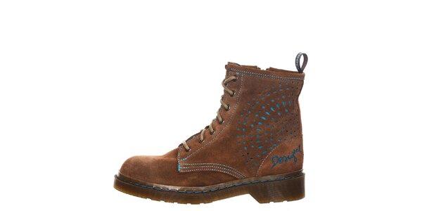 Dámske hnedé šnurovacie členkové topánky Desigual