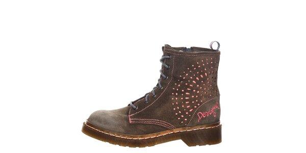 Dámske tmavo šedé šnurovacie členkové topánky Desigual