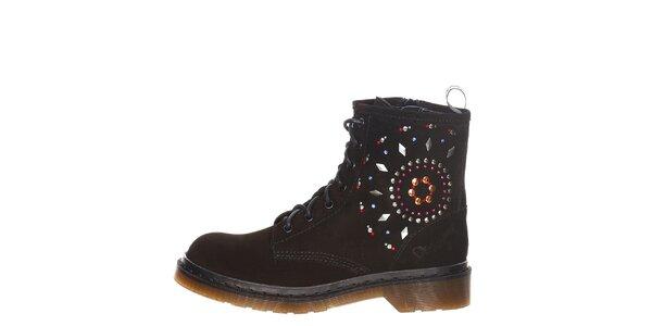 Dámske čierne šnurovacie topánky s farebnými kamienkami Swarovski Desigual