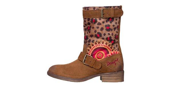 Dámske hnedé topánky s leopardím a kvetinovým vzorom Desigual