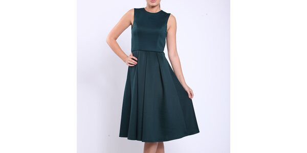 Dámske tmavo zelené šaty s prestrihom Melli London