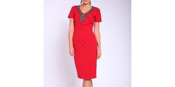 Dámske červené púzdrové šaty Melli London