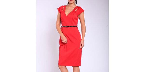 Dámske červené púzdrové šaty s opaskom Melli London