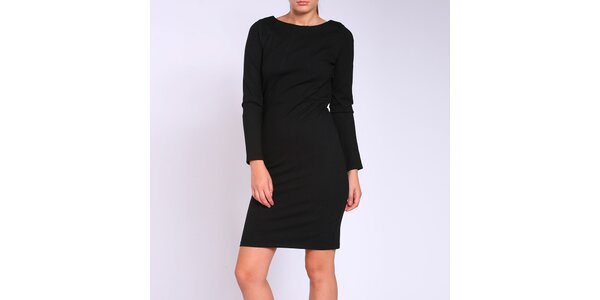 Dámske čierne priliehavé šaty s prestrihmi na chrbte Melli London