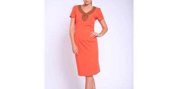 Dámske oranžové púzdrové šaty Melli London