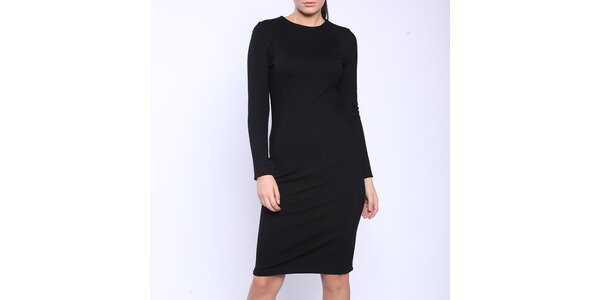 Dámske čierne šaty s dlhými rukávmi Melli London