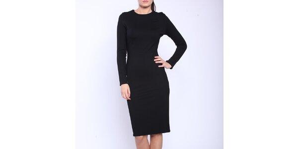 Dámske čierne šaty s dlhými rukávmi a bielymi bokmi Melli London