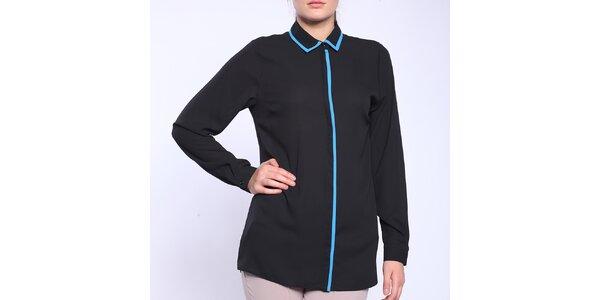 Dámska čierna košeľa s modrým lemovaním Melli London