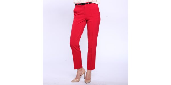 Dámske červené nohavice s pukmi Melli London