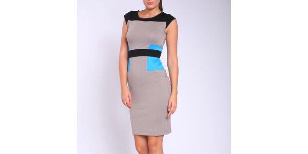 Dámske šedo-modro-čierne šaty Melli London