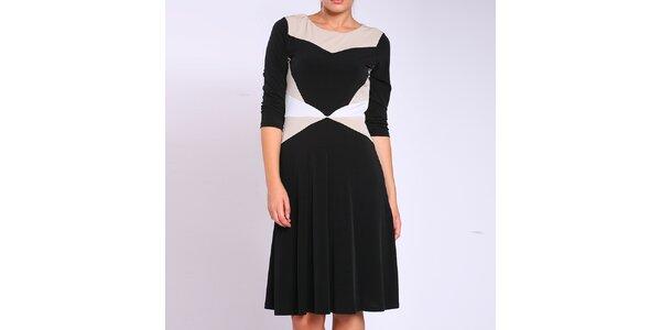 Dámske čierno-béžovo-biele šaty Melli London