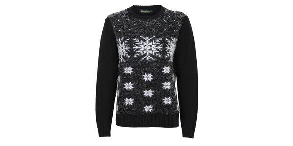 Dámsky čierny sveter s bielymi snehovými vločkami Sugar Crisp