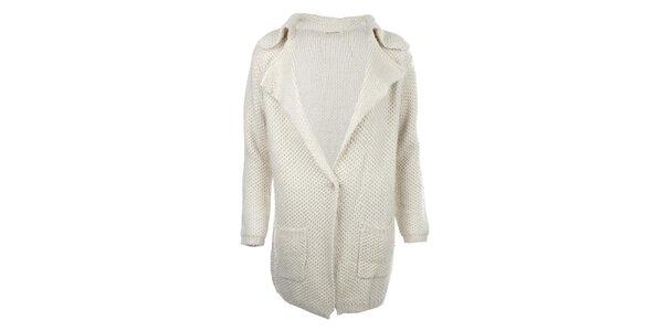 Dámsky dlhší krémový sveter s vreckami For Ever