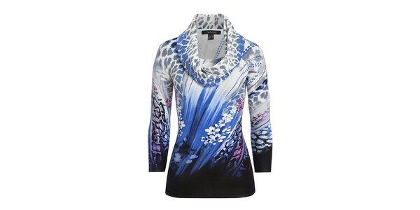 Dámsky modro vzorovaný svetrík s leoparďou šatkou Imagini