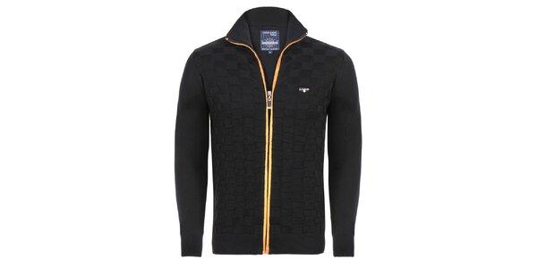 Pánsky čierny sveter na zips Giorgio di Mare