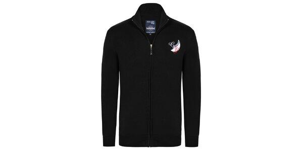 Pánsky čierny sveter so zipsom Giorgio Di Mare