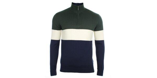 Pánsky pruhovaný sveter so zipsom Pietro Filipi