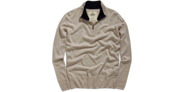 Pánsky šedobéžový sveter s rolákom na zips Timeout