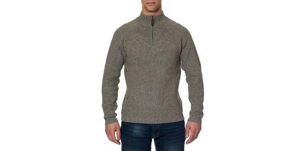 Pánsky šedozelený sveter so stojáčikom na zips Paul Stragas