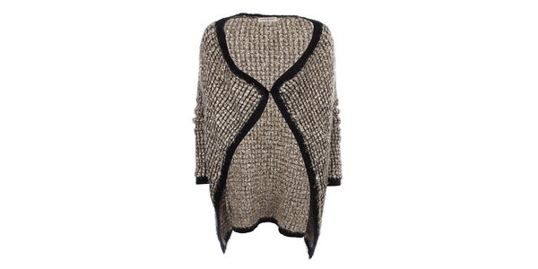 Dámsky dlhší zlatý sveter s čiernym lemovaním Beauty Women