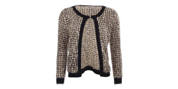 Dámsky zlatý sveter s čiernym lemovaním Beauty Women