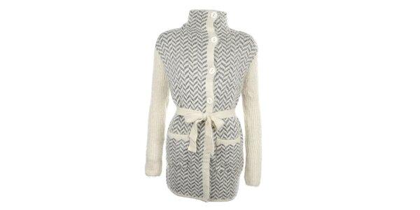 Dámsky šedý vzorovaný sveter s gombíkmi a zaväzovaním v páse MISS @ MAX