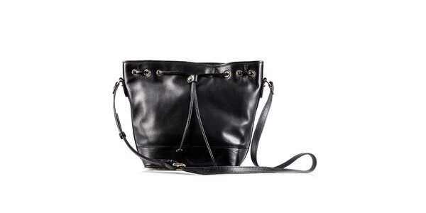 Dámska čierna kožená kabelka so šnúrkou Belle & Bloom
