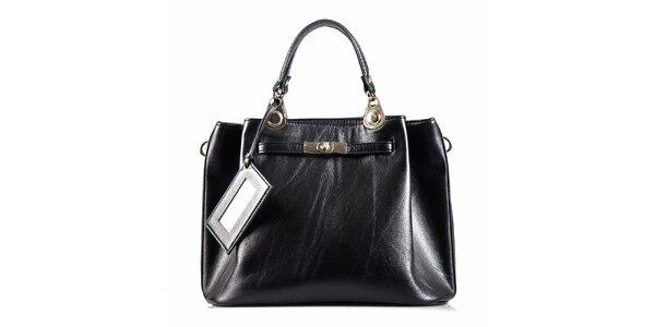 Dámska čierna kožená kabelka so zámkom Belle & Bloom