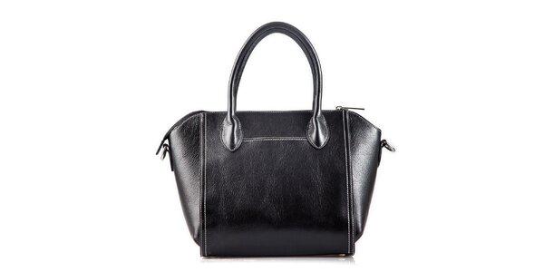 Dámska čierna kožená kabelka s bielym prešívaním Belle & Bloom