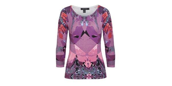 Dámsky fialový vzorovaný sveter s 3/4 rukávom Imagini