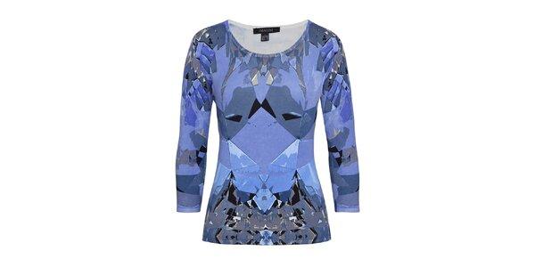 Dámsky vzorovaný sveter v modrej farbe Imagini