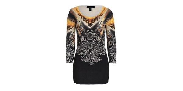 Dámsky hnedo-čierny sveter s elegantným vzorom Imagini