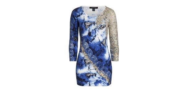 Dámsky modrý sveter so vzorom Imagini