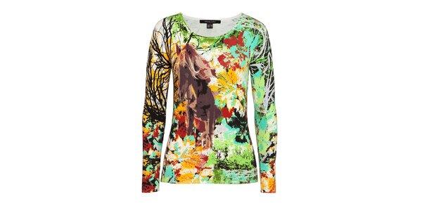 Dámsky farebný sveter s motívom koňa Imagini