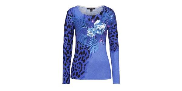 Dámsky modrý sveter s leopardím vzorom a kvetmi Imagini