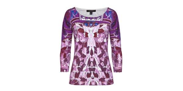 Dámsky fialový sveter s elegantným vzorom Imagini