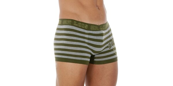 Pánske šedo-zelené prúžkované boxerky Lois